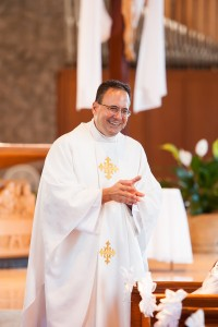 Fr. Zirilli speaking to the First Comminicants